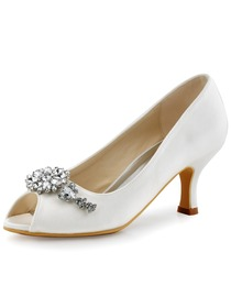 ElegantPark Women White Ivory Peep Toe Clip Buckle Mid Heel Satin Wedding Bridal Shoes