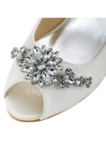 ElegantPark Women White Ivory Peep Toe Clip Buckle Mid Heel Satin Wedding Bridal Shoes (HP1541)