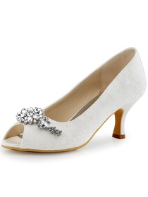 ElegantPark Women Peep Toe Rhinestones Mid Heel Satin Wedding Bridal Shoes