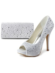 Elegantpark Peep Toe Stiletto Heel Platform Satin Rhinestones Evening & Party Shoes&Handbag