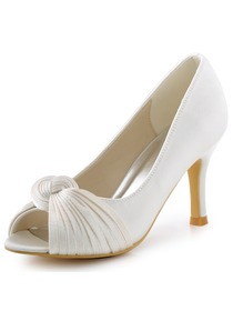 ElegantPark Women White Ivory High Heel Peep Toe Knots Satin Wedding Bridal Shoes