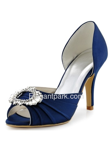 Elegantpark Women Navy Blue Peep Toe Pump Stiletto Heel Satin Wedding Bridal Shoes (A2136)