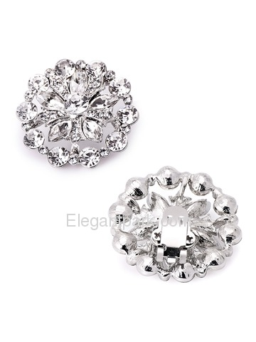 ElegantPark Silver Round Crystal Rhinestones Removable Wedding Party Shoe Clips Two Pieces Including