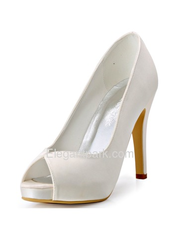 ElegantPark Peep Toe High Heel Platform Women Ivory Satin Wedding Bridal Shoes (HP1563I)