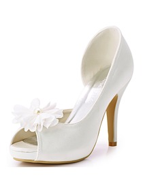 ElegantPark Women Peep Toe High Heel Platform Removable Flower Shoe Clips Wedding Party Shoes