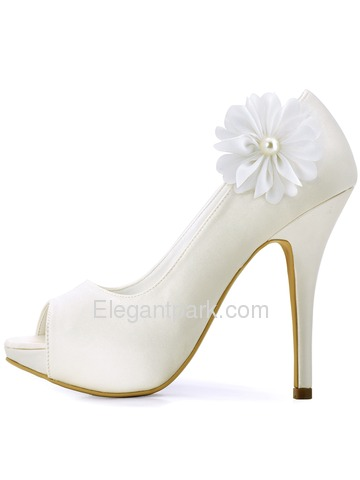ElegantPark Women Peep Toe Stiletto Heel Removable Flower Pearls Shoe Clips Wedding Bridal Pumps (HP1561IAI)