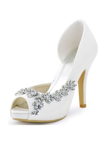 ElegantPark Women Peep Toe Rhinestones High Heel Satin Wedding Bridal Pumps