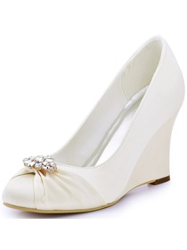 ElegantPark Women Closed Toe Ivory Wedge Heels Removable Gold Clips Wedding Bridal Shoes