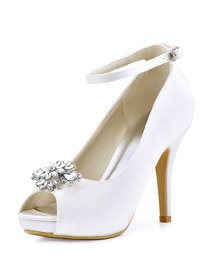 ElegantPark Women White Ivory Peep Toe High Heel Platform AK Removable Clips Wedding Bridal Pumps