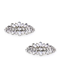 EletantPark Women Wedding Dress Accessories Leaf Design Rhinestones Shoe Clips 2 Pcs
