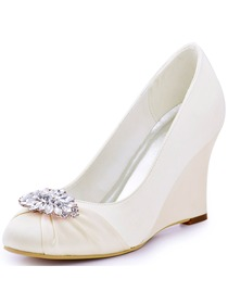 ElegantPark Women Closed Toe Ivory Wedge Heels Rhinestones Pumps Gold Clips Wedding Bridal Shoes