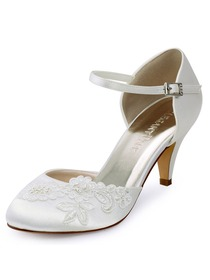 ElegantPark Closed Toe Applique Ivory Mid Heels Buckle Satin Wedding Bridal Shoes