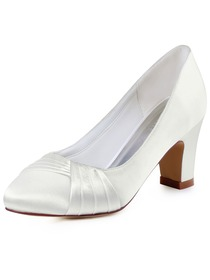 ElegantPark Women's Ivory Closed Toe Chunky Heel Satin Wedding Bridal Pumps Shoes