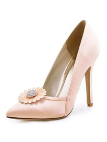 ElegantPark Women Pointed Toe High Heel V Cut Daisy Clips Light Pink Wedding Prom Dress Shoes