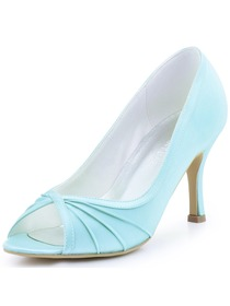 ElegantPark Women Evening Pumps Peep Toe High Heel Satin Wedding Bridal Shoes