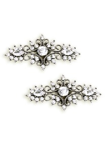 EletantPark Antique Silver Women Wedding Dress Accessories Gift Leaf Rhinestone Hat Shoe Clips 2 Pcs