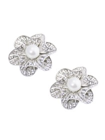 EletantPark Silver Gold Women Wedding Dress Accessories 3D Flower Pearl Rhinestones Shoe Clips 2 Pcs