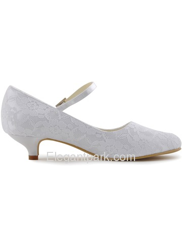 Elegantpark Pretty Satin Lace Closed Toe Spool Heel Bridal Shoes (100120)