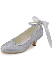 Elegantpark Silver Almond Toe Chunky Heel Glitter PU Ribbon Tie Evening Party Shoes