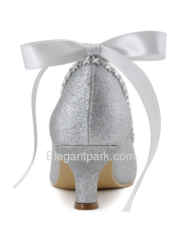 Elegantpark Silver Almond Toe Chunky Heel Glitter PU Ribbon Tie Evening Party Shoes (EP31010)