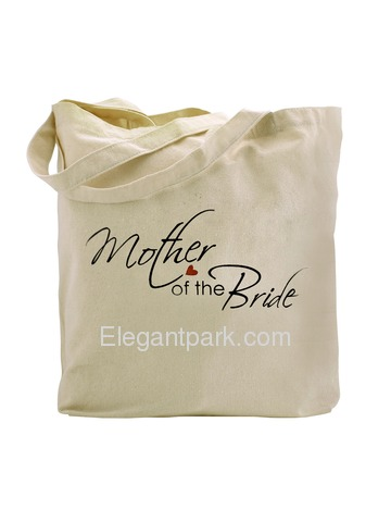 ElegantPark Mother of the Bride Tote Bag For Wedding Party Natural Canvas 100% Cotton