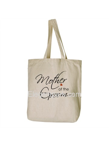 ElegantPark Mother of the Groom Tote Bag For Wedding Party Natural Canvas 100% Cotton