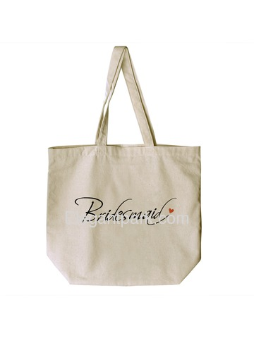 ElegantPark Bridesmaid Tote Bag For Wedding Party Natural Canvas 100% Cotton 1 Pcs