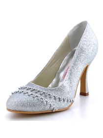 Elegantpark Silver Round Toe Stiletto Heel Glitter PU Wedding Bridal Prom Shoes