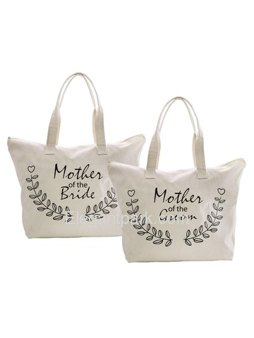 ElegantPark Mother of Bride Groom Canvas Tote Bag Travel Zip Interior Pocket 100% Cotton 2 Packs