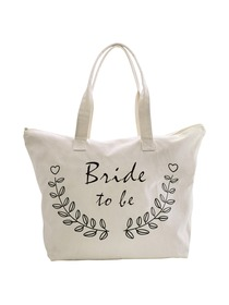 ElegantPark Bride to Be Wedding Canvas Tote Bag Travel Zip Interior Pocket 100% Cotton