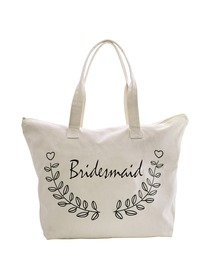 ElegantPark Bridesmaid Wedding Canvas Tote Bag Travel Zip Interior Pocket 100% Cotton 1 Pack