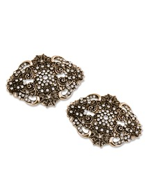 ElegantPark BM Vintage Brushed Flowers Rhinestones Wedding Party Decoration Shoe Clips