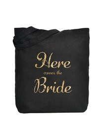 ElegantPark Here Comes the Bride Tote Bag Black Canvas Gold Script 100% Cotton