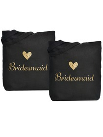 ElegantPark Bridesmaid Wedding Tote Bag Black Canvas Gold Script 100% Cotton 2 Packs