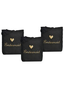 ElegantPark Bridesmaid Wedding Tote Bag Black Canvas Gold Script 100% Cotton 3 Packs