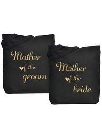ElegantPark Mother of Bride Groom Tote Bag Black Canvas Gold Script 100% Cotton 2 Packs