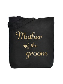 ElegantPark Mother of Groom Tote Bag Black Canvas Gold Script 100% Cotton 1 Pack