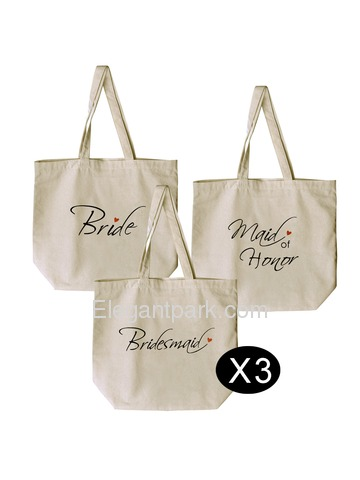 Tote Bags Set for Women Wedding Bride to Be Bridal Shower Bachelorette Gifts Canvas 100% Cotton