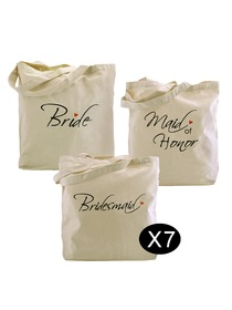 Bride Tote Bag Bridesmaid Tote Bag Maid of Honor Tote bag Set for Wedding Gifts Canvas 100% Cotton
