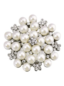 BP1702 Women Fashion Jewelry Beautiful Pearls Flower Crystal Brooch Pin Silver