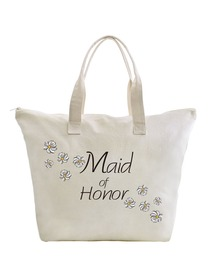 ElegantPark Maid of Honor Wedding Canvas Tote Bag Travel Daisy Zip Interior Pocket 100% Cotton