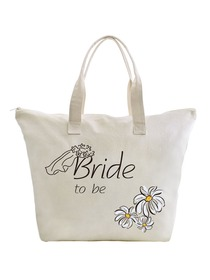 ElegantPark Bride to Be Wedding Canvas Tote Bag Travel Daisy Zip Interior Pocket 100% Cotton