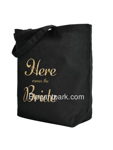 ElegantPark Here Comes the Bride Tote Bag Wedding Gifts Black 100% Cotton with Gold Script