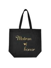 ElegantPark Matron of Honor Tote Bag for Wedding Gifts Black 100% Cotton with Gold Script