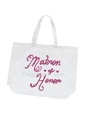 Matron of Honor Tote Bag for Bridesmaid Wedding Gifts Canvas 100% Cotton White with Hot Pink Script