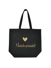 ElegantPark Bridesmaid Tote Bag for Wedding Gifts Black 100% Cotton with Gold Script 1 Pcs