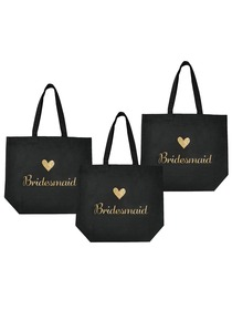 ElegantPark Bridesmaid Tote Bag for Wedding Gifts Black 100% Cotton with Gold Script 3 Pcs