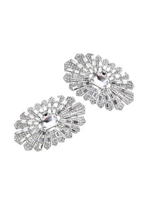 BW Fan Design Rhinestones Wedding Party Decoration Shoe Clips