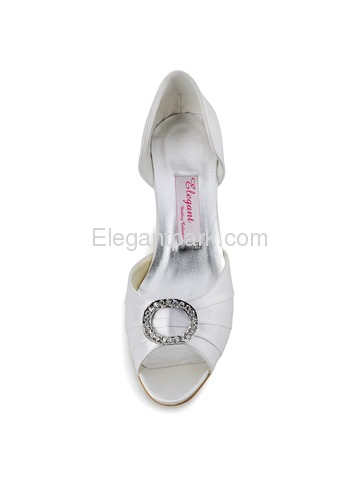 Women Mid Heel Pumps Peep Toe Brooch Ruched Satin Evening Prom Wedding Shoes (HP1630)