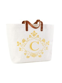 ElegantPark C-Initial 100% Jute Tote Bag with Handle and Interior Pocket